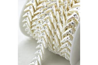 (LZ94) - AEAOA 10 Yards 1.7cm Ivory Fish Pearl Rhinestone Chain Trims Sewing Wedding Decoration Craft Beaded Trim (LZ94)