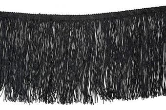 (6.8 Yard x 20cm , Black) - BEL AVENIR Tassel Chainette Fringe Trim 6.8 Yard x 20cm Polyester Lace Trim with Hand Knitting for Home Accessories DIY Decoration (Black, 6.8 Yard x 20cm )