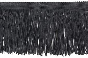 (6.8 Yard x 9.9cm , Black) - BEL AVENIR Tassel Chainette Fringe Trim 6.8 Yard x 9.9cm Polyester Lace Trim with Hand Knitting for Home Accessories DIY Decoration (Black, 6.8 Yard x 9.9cm )