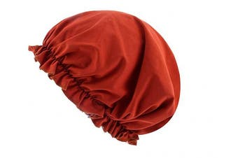 (Red) - CEAJOO Womens Shower Cap Bonnet Sleep Hat with Elastic Band Red
