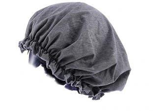 (Dark Grey) - CEAJOO Womens Shower Cap Bonnet Sleep Hat with Elastic Band Dark Grey