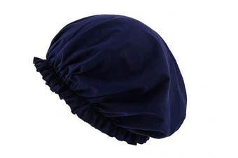 (Navy Blue) - CEAJOO Womens Shower Cap Bonnet Sleep Hat with Elastic Band Navy Blue