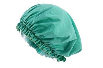 (Green) - CEAJOO Womens Shower Cap Bonnet Sleep Hat with Elastic Band Green