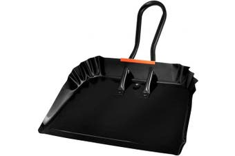 (43cm ) - Alpine Industries Heavy-Duty Black Metal Dustpan - Stainless Steel Wide Scooper - Handheld Space Saving Dust and Debris Cleaning Tool Ideal for Home and Commercial Use (43cm )