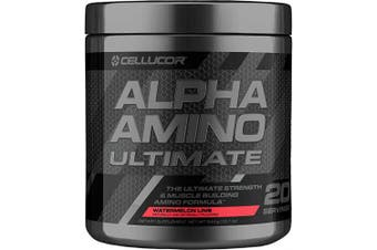 (Watermelon Lime) - Cellucor Alpha Amino Ultimate EAA & BCAA Recovery Powder + HMB, Essential & Branched Chain Amino Acids for Post Workout Hydration, Watermelon Lime, 20 Servings