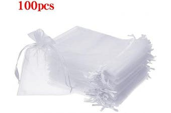 (7.6cm  X 10cm (100PCS), White) - Boshen 100/200PCS Organza Gift Candy Sheer Bags Mesh Jewellery Pouches Drawstring Bulk for Wedding Party Favours Festival Christmas Valentine's Day 7.6cm x 10cm 10cm x 15cm 13cm x 18cm (7.6cm X 10cm (100PCS), White)