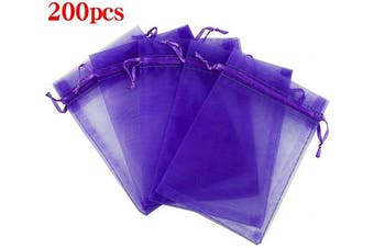 (13cm  X 18cm (200PCS), Purple) - Boshen 100/200PCS Organza Gift Candy Sheer Bags Mesh Jewellery Pouches Drawstring Bulk for Wedding Party Favours Festival Christmas Valentine's Day 7.6cm x 10cm 10cm x 15cm 13cm x 18cm (13cm X 18cm (200PCS), Purple)