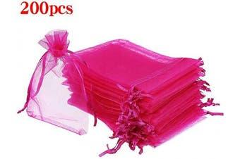(7.6cm  X 10cm (200PCS), Hot Pink) - Boshen 100/200PCS Organza Gift Candy Sheer Bags Mesh Jewellery Pouches Drawstring Bulk for Wedding Party Favours Christmas 7.6cm x 10cm 13cm x 18cm (7.6cm X 10cm (200PCS), Hot Pink)