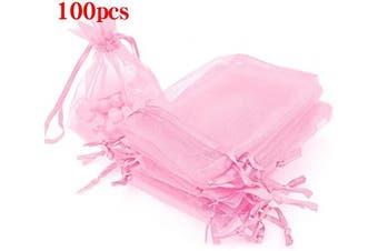 (7.6cm  X 10cm (100PCS), Pink) - Boshen 100/200PCS Organza Gift Candy Sheer Bags Mesh Jewellery Pouches Drawstring Bulk for Wedding Party Favours Christmas 7.6cm x 10cm 13cm x 18cm (7.6cm X 10cm (100PCS), Pink)
