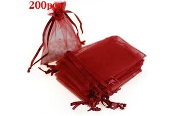 (7.6cm  X 10cm (200PCS), Red) - Boshen 100/200PCS Organza Gift Candy Sheer Bags Mesh Jewellery Pouches Drawstring Bulk for Wedding Party Favours Christmas 7.6cm x 10cm 13cm x 18cm (7.6cm X 10cm (200PCS), Red)