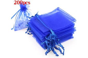 (10cm  X 15cm (200PCS), Royal Blue) - Boshen 100/200PCS Organza Gift Candy Sheer Bags Mesh Jewellery Pouches Drawstring Bulk for Wedding Party Favours Christmas 7.6cm x 10cm 10cm X 15cm 13cm x 18cm (10cm X 15cm (200PCS), Royal Blue)