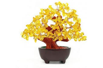 (Yellow) - Colorsheng 18cm Quartz Crystal Money Tree Bonsai Fengshui Gem Decoration for Wealth and Luck (Yellow)