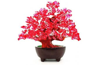(Red) - Colorsheng 18cm Quartz Crystal Money Tree Bonsai Fengshui Gem Decoration for Wealth and Luck (Red)