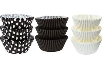 (50White 25Black PolkaDot 25Black) - Large Jumbo Texas Muffin/Cupcake Cups White flutted Cupcake Liners Baking Cups (50White 25Black PolkaDot 25Black)