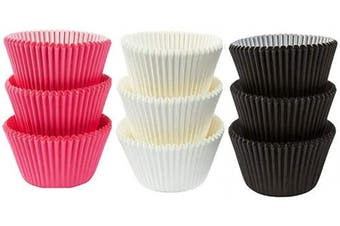 (50White 25Pink 25Black) - Large Jumbo Texas Muffin/Cupcake Cups White flutted Cupcake Liners Baking Cups (50White 25Pink 25Black)
