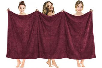 (100cm  x 200cm  Oversized Bath Towel, Burgundy) - American Soft Linen 100cm x 200cm Premium, Soft & Luxury 100% Ringspun Genuine Cotton 650 GSM Extra Large Jumbo Turkish Bath Towel for Maximum Softness & Absorbent [Worth $64.99] Burgundy