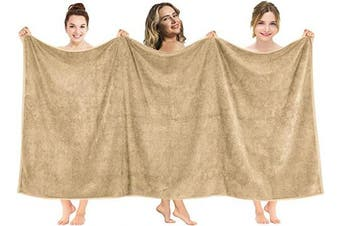 (100cm  x 200cm  Oversized Bath Towel, Sand Taupe) - American Soft Linen 100cm x 200cm Premium, Soft & Luxury 100% Ringspun Genuine Cotton 650 GSM Extra Large Jumbo Turkish Bath Towel for Maximum Softness & Absorbent [Worth $64.99] Sand Taupe