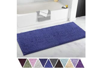 (50cm  x 120cm , Royal Blue) - ITSOFT Non Slip Shaggy Chenille Soft Microfibers Runner Large Bath Mat for Bathroom Rug Water Absorbent Carpet, Machine Washable, 50cm x 120cm Royal Blue