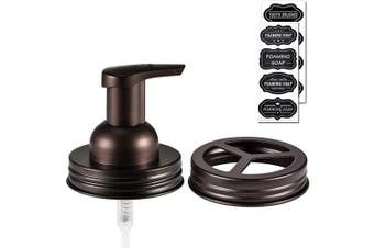 (2, Bronze) - Mason Jar Bathroom Accessories Set(2pcs)- Jars Not Included -- Foaming Soap Dispenser & Toothbrush Holder Lid - Premium Rustproof Stainless Steel,Bathroom Kitchen Rustic Modern Farmhouse Decor ,Bronze