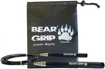 (Black) - BEAR GRIP - Elite Speed Skipping Rope for Fitness Conditioning and Fat Loss. Self-Locking Aluminium Anti-Slip Handles. Crossfit, MMA, Boxing, High Intensity Training (HIIT) and Double Unders