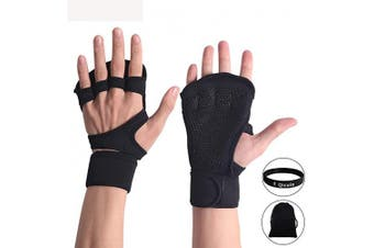 (Black, XL) - Qicuio Crossfit Gloves Hand Grips - Suitable for Pull Up Bar, Gym, Weightlifting, Deadlift, Callisthenics, Gymnastics, Fitness Workout Training - Fingerless, Padded Palm Guard With Wrist Wrap Support