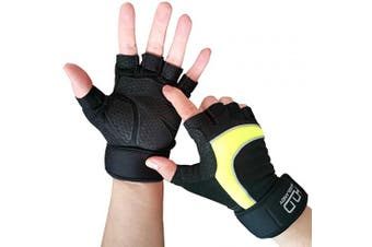 (L) - Gym Gloves with Wrist Support Anti-Slip Silicone Palm for Exercise Gloves for Powerlifting, Fitness, Cross Training,and Bodybuilding,Ideal for Both Men & Women