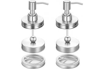 (silver) - 6 Pieces Mason Jar Bathroom Accessories Lids Set Mason Jar Soap Dispenser Lids Portable Mason Jar Toothbrush Holder Lids and Storage Jars Lids Compatible with Regular Mouth Mason Jars (Silver)