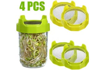 4 Pieces Sprouting Lids Sprouting Jar Strainer Lid Plastic Sprout Lid with Stainless Steel Screen for Wide Mouth Mason Jars Grow Bean Sprouts Alfalfa Salad Sprouts