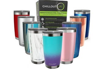 (590ml, Caribbean Lily) - CHILLOUT LIFE 590ml Stainless Steel Tumbler with Lid - Double Wall Vacuum Insulated Large Travel Coffee Mug with Splash Proof Lid for Hot & Cold Drinks, Powder Coated Colour