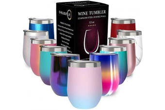 (350ml, Cotton Candy) - CHILLOUT LIFE 350ml Stainless Steel Tumbler with Lid - Wine Tumbler Double Wall Vacuum Insulated Travel Tumbler Cup for Coffee, Wine, Cocktails, Ice Cream - Matte Powder Coat