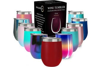 (350ml, Cherry Red) - CHILLOUT LIFE 350ml Stainless Steel Tumbler with Lid - Wine Tumbler Double Wall Vacuum Insulated Travel Tumbler Cup for Coffee, Wine, Cocktails, Ice Cream - Matte Powder Coat