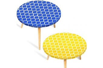 2 Pieces Vinyl Round Tablecloth Fitted Elastic Flannel Table Cover Waterproof Edged Table Protector Flannel Backed Tablecloth, Moroccan Style (Medium 40-110cm , Yellow and Blue)
