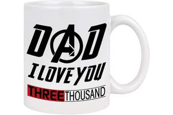 (White-Dad) - Love You 3000 Mug Iron Man Coffee Mug for Dad Marvel Gifts for Men Best Dad Gifts from Daughter Son for Avenger Fans Fathers Day Birthday Christmas Gifts 330ml