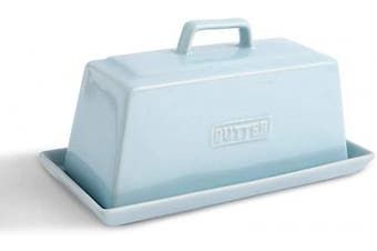 (Sky) - KOOV Ceramic Butter Dish with Lid, Perfect for East/West Butter,19cm Wide (Sky)