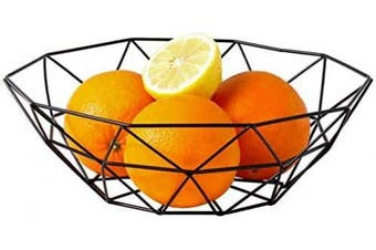 Large Metal Wire Fruit Basket,Round Storage Baskets for Bread,Fruit,Snacks,Candy,Households Items.Fashion Fruit Bowl Decorate Living Room, Kitchen, Countertop,Black By Cq acrylic