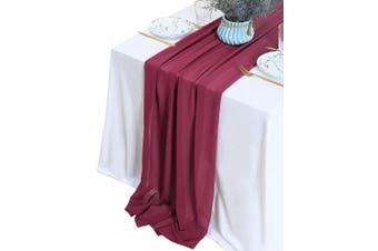 (1 piece, Burgundy) - B-COOL 3m Chiffon Table Runner Gauze 70cm x 300cm Burgundy Romantic Wedding Runner Sheer Bridal Party Decorations