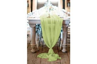 (1 piece, Sage Green) - B-COOL Table Runner Chiffon Bulk Silk Event Party Supplies Table Cloth Romantic Wedding Decor Handmade Chiffon Velvet Table Runner Boho Vintage Woodland Sage Green