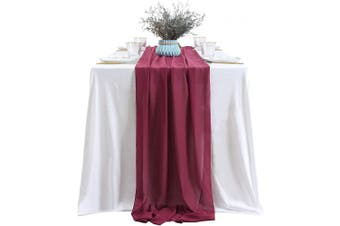 (2 pieces, Burgundy) - B-COOL Chiffon Table Runner 3m for Wedding Baby Shower Party Decor Smooth Sheer Arch Table Decorations-Burgundy 2PCS