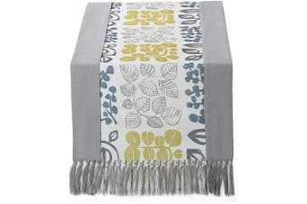 (38cm  x 230cm , Grey Printed) - 38cm x 230cm Rustic Woven Table Runner with Handmade Fringe, Buffalo Cheques Burlap Dining Table Runners for Family Dinner, Farmhouse Decorations - Grey Printed
