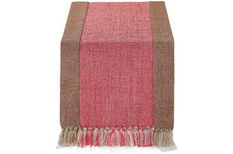 (38cm  x 180cm , Burlap Red) - 38cm x 180cm Rustic Woven Table Runner with Handmade Fringe, Buffalo Cheques Burlap Dining Table Runners for Family Dinner, Farmhouse Decorations - Red