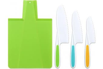 (Green) - Tovla & Co. Kids Kitchen Knife and Foldable Cutting Board Set: Children's Cooking Knives in 3 Sizes & Colours/Firm Grip, Serrated Edges, BPA-Free Kids' Knives/Safe Lettuce and Salad Knives