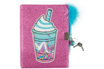 Three Cheers for Girls by Make It Real - Frappe with Sprinkles Glitter Locking Journal - Secret Diary for Girls with Lock & Key - Lined Pink Notebook & Fluffy Pen - Lockable Journal Stationery Set