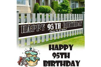 (95) - LINGPAR 3m x 0.5m Large Sign Happy 95h Birthday Banner - Cheers to 95 Years Old Decor