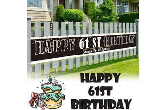 (61) - LINGPAR 3m x 0.5m Large Sign Happy 61th Birthday Banner - Cheers to 61 Years Old Decor