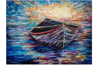 (Wooden Boat at Sunrise) - Americanflat 500 Piece Jigsaw Puzzle, 46cm x 60cm , Wooden Boat at Sunrise by Olena Art