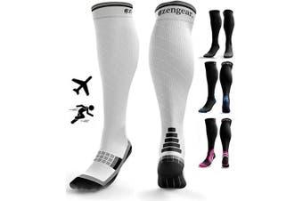 (Small / Medium, White & Black) - Compression Socks for Men & Women (20-30 mmHg) - Pro Sports - Anti DVT Varicose Vein Stockings - Running - Shin Splints Calf Support - White & Black S/M