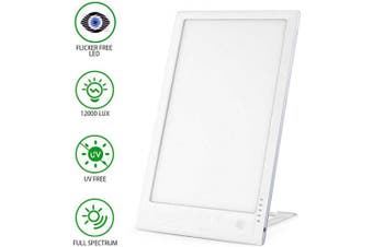 (SAD-03 White) - Light Therapy Lamp, 12000 Lux Genuine Full Spectrum Therapy Light, UV Free, SAD Light Lamp with Adjustable Brightness, 5 Timer Settings, Touch Control, for Home/Office/Sleep/Winter(SAD-03)
