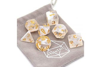 (White Cloud Gold Numbers) - Haxtec Swirl DND Dice Galaxy Polyhedral D & D Dice for Dungeons and Dragons Roleplaying Games