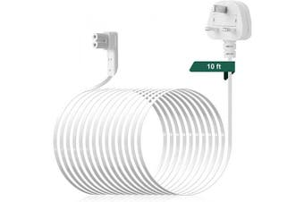 (3m/10ft) - Power Cable for Sonos One,AIEVE 3m/10ft Power Cord Right Angle Cable Accessories for Sonos One,Sonos One SL and Sonos Play:1(White, UK Plug)