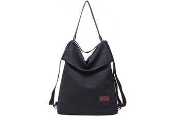 (Black) - Travistar Women Multifunction Shoulder Bag Canvas Crossbody Casual Daypack Handbag for work and daily use
